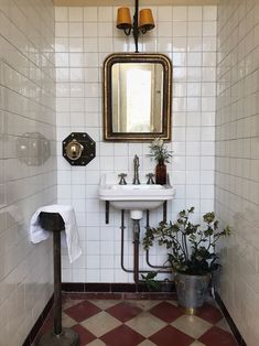 Tiny bathrooms 335940453451387986 - A rarely photographed part of our house are the harvest room bathrooms where harvesters used to shower before feasting on delicious, hearty… Source by maisonlili Eclectic Bathroom, Bathroom Red, Bathroom Interior Design, Home Interior, Small Bathroom, Washroom, Bathroom Ideas, French Bathroom, Office Bathroom