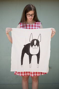 Illustrated Boston Terrier tea towel by Gingiber; detail view