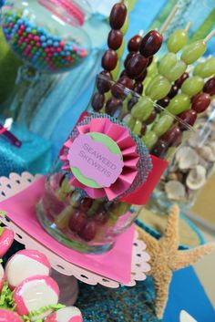 grape kabobs - Photo 1 of Mermaid / Birthday Sweet mermaid magic Little Mermaid Birthday, Little Mermaid Parties, 4th Birthday Parties, Birthday Fun, Kids Birthday Themes, Birthday Desserts, First Birthdays, Minnie Mouse, Woman Costumes