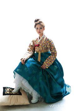 Beautiful gold and teal blue Hanbok | Korea
