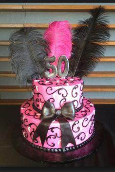 Cake!! Feathery pink n black fun