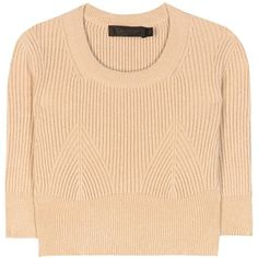 Calvin Klein Collection Cropped Sweater ($520) ❤ liked on Polyvore featuring tops, sweaters, beige, cropped sweater, beige crop top, calvin klein collection, crop top and beige top