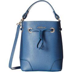Furla Stacy Indaco Blue Mini Drawstring Handbag ($359) ❤ liked on Polyvore featuring bags, handbags, tote bags, leather tote, leather man bag, leather tote bags, handbags & purses and blue leather tote bag