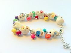 Day of the Dead Sugar Skull Adjustable Chain Bracelet Bright Popping Rainbow Flowers by PennysLane on Etsy