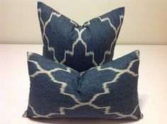 Geometric  pillow shams  Lattice Blue - ONE  DECORATIVE THROW pillow cover  Blue and oatmeal  Accent  cushion covers