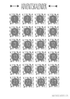 Adventscalendar Grey Numbers Christmas Free Print Weihnachten DIY Pearodie