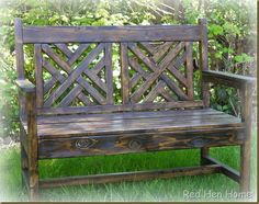 DIY bench from Ana White plans Red Hen Home woven bench 5