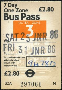 ticket - london transport zone 3 weekly 01-86 Cool Numbers, Ticket Design, Bus Pass, Lottery Tickets, London Transport, Old Paper, Wire Art, Ephemera, Journaling