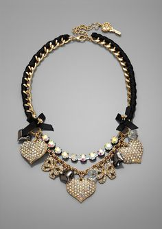 BETSEY JOHNSON Pave Heart Frontal Necklace
