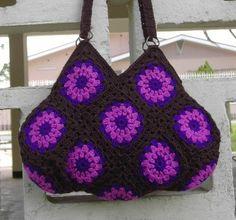 Crochet brown schoulderbag with purple flowers, crochet bag, crochet granny square bag