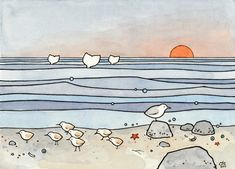 A whimsical illustration of the beach with sandpipers, whales, a seagull and little seashore treasures by the tideline. High quality art print Signed and dated Prints come in white acid-free mats (sta Art And Illustration, Watercolor Illustration, Illustrations, Arte Country, Whale Print, Beach Watercolor, Sunset Colors, Mail Art, Whimsical Art
