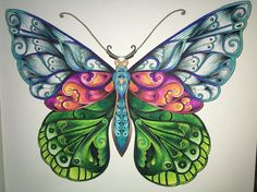 Magical Jungle, butterfly, coloring book. Johanna Basford.