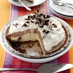 Mocha Java Pie with Kahlua Cream Recipe -I'm a big coffee drinker and love the iced and frozen versions, too. This pie was my way of incorporating those flavors into a dessert. —Becky McClaflin, Blanchard, Oklahoma