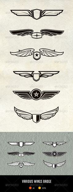 Wing Badges and Patch - Decorative Symbols Decorative Logo Sketch, Vector Design, Graphic Design, S Logo Design, Inspiration Logo Design, Gravure Laser, Guzzi V7, Wings Logo, Wings Design