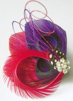 Peacock Hair Clip CHERRY and PLUM Peacock and by maggpieseye