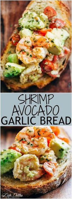 Shrimp Avocado Garlic Bread Recipe Need appetizer, lunch, or some serious snack inspiration? Shrimp Avocado Garlic Bread would have to be the next BEST thing to garlic bread! Avocado Recipes, Fish Recipes, Appetizer Recipes, Bread Appetizers, Seafood Appetizers, Seafood Platter, Shrimp Recipes, Recipies, Seafood Pasta