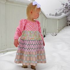 Image of Peasant Twirl Dress Pattern - Long Sleeves and Short - Girls 2 - 10