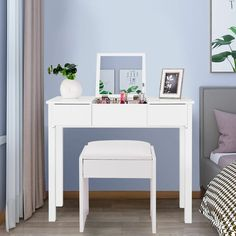 Shop for Costway White Vanity Dressing Table Furniture Stool Storage Box. Get free delivery On EVERYTHING* Overstock - Your Online Furniture Store! Simple Dressing Table, Makeup Dressing Table, Dressing Table With Stool, Vanity Table Set, Vanity Set With Mirror, Desk Set, White Vanity Desk With Drawers, White Vanity Set, Glass Vanity
