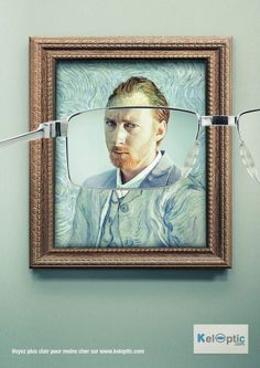 This design says its message simply, as it gives the obvious impression that their corrective lenses will improve your vision to a level where even an impressionistic painting (of and by Van Gough in this case) will appear clear to the eye, once bespectacled by their glasses.