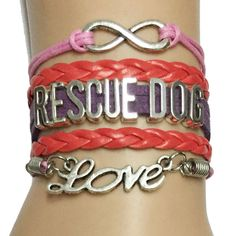 Infinity/Love Rescue Dog Bracelet- Puppy Paw Print Pet Lover Jewelry