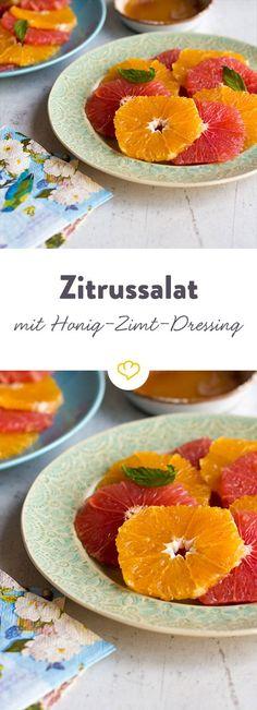 Verschiedene Zitrusfrüchte, etwas Honig sowie Zimt. Verfeinert mit frischer Minze - fertig ist ein Sommersalat mit der Extraportion Vitamin C.