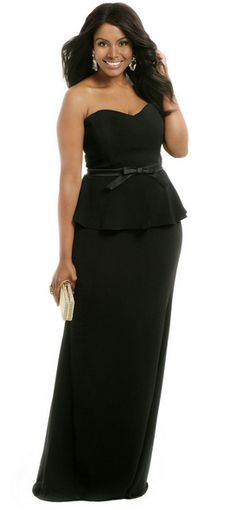Badgley Mischka Noir Bow Peplum Gown >> 20 Plus-Size Evening Gowns for Your Next Black Tie Event