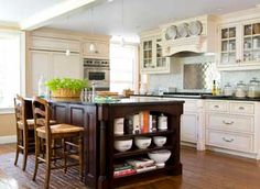 Vintage Kitchen Renovation-love the white cabinets witht the dark island- nice contrast