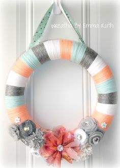 Spring Coral & Tiffany Blue Yarn Wreath. $20.00, via Etsy.