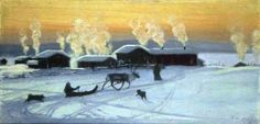 Juho K. Kyyhkynen: Lapin aamu - Morning in Lapland 1908 Winter Holidays, Fall Winter, People Photography, Finland, Artsy, Culture, Halloween, Painting, Ideas