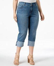 6a9bd2ef28fb8 Style   Co Plus Size Cuffed Crop Jeans