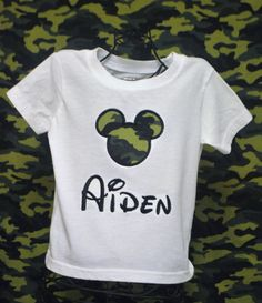 Personalized  Camo Mickey Mouse Tshirt by juniegrace on Etsy, $21.95