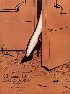 Check out this item at One Kings Lane! Christian Dior Shoes by René Gruau, 1953 Vintage Dior, Mode Vintage, Vintage Shoes, Vintage Ads, Etsy Vintage, Vintage Posters, Vintage Fashion, Art Vintage, Fashion Illustration Vintage