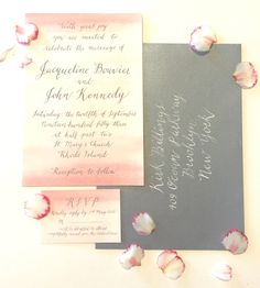 Gorgeous blush pink watercolour invitations with a soft grey envelope. A romantic calligraphy font to enhance this dreamy wedding suite