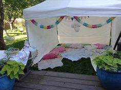 Can use the canopy cover for the screen. Backyard Movie Night Party, Backyard Movie Theaters, Outdoor Movie Nights, Outside Birthday Parties, Slumber Parties, Movie Night For Kids, Girls Night, 16th Birthday, Birthday Ideas