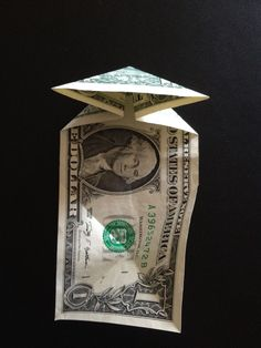 How to fold a $1 dollar bill - B+C Guides Fold Dollar Bill, Dollar Bill Origami, Money Origami, Three Fold, Thing 1, One Dollar, Four Corners, Triangle, Two By Two