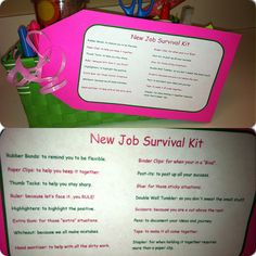 New Job Survival Kit/ Going away gift! I did a version of this for my boss and a coworker... they seemed pleased