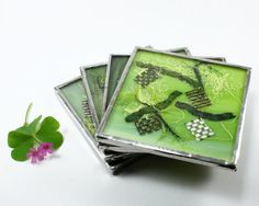 Green Glass Coaster Set, 4 Drink Coasters, Stained Glass Kitchen Tile, Kitchen Accessory, Modern Coffee Coaster, Decorative Green Coaster