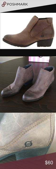 Women's Born Shoes &Comfortable Ankle Leather Boot These boot is stylish and comfortable! It is supper comfortable enough to wear all day long. These boot have a slightly worn in finish and it have a rugged non-slip sole which is good for wet weather condition  🌟Size 10 /42                                                       🌟Topo Grey Color                                                      ‼️ Excellent condition ( Like New )‼️ Born Shoes Ankle Boots & Booties