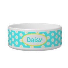 Shop Personalized Daisy Pattern - Name Pet Bowl created by stdjura. Daisy Pattern, Pet Bowls, Pattern Names, Pet Gifts, Blue Backgrounds, Yellow Flowers, Your Pet, Pets, Create