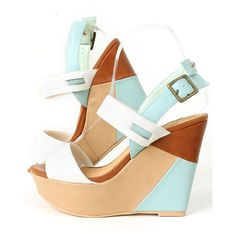 Multi Color Wedge Sandals/ES2835 (3,575 DOP) ❤ liked on Polyvore featuring shoes, sandals, wedges, heels, chaussures, wedge heel shoes, heeled sandals, wide shoes, wedge sandals and colorful wedge shoes