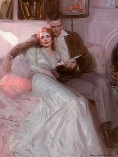 "Tom Lovell Tom Lovell This couple has settled into a comfortable relationship. The painting illustrated the story ""Back Come The Bride"" in Ladies Home Journal in February 1944."