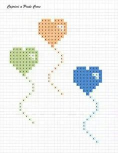 Birthday balloons cross stitch.