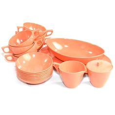 Vintage Retro Melmac Peach / Coral Dish Set: 20 Pieces of authentic Melmac, gorgeous coral / salmon color! Available from OneRustyNail on Etsy. ► http://www.etsy.com/shop/OneRustyNail