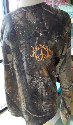 Camouflage Monogram Long Sleeve Tshirt by StitchingEverything, $30.00 haha