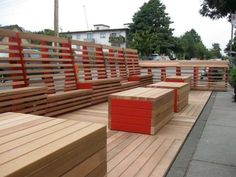 As part of the Viva Vancouver program, two parking spaces near coffee shops were transformed into a modular deck that serves as a public lounge in Vancouver.