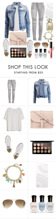 """The perfect combo"" by stayler ❤ liked on Polyvore featuring Balmain, VILA, Fine Collection, M.N.G, Converse, MAC Cosmetics, claire's, Monika Strigel, Ray-Ban and Deborah Lippmann"