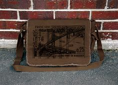 Le Grand Pont De Bordeaux  Hand Printed Brown by CrawlspaceStudios, $45.00