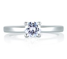 Style MES482 Square Shank Solitaire With Loop Set Profile Diamond Engagement Ring From the Classics Collection, this high polish signature shank solitaire has a loop set profile diamond setting it apart from the rest. #round #prong #simple