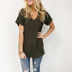 Classic Olive Tee w/ Pocket on front  Cuffed Short Sleeves  V-Neck  Relaxed Fit  Also Available in White, Black, Grey, Charcoal,Wine, and Mustard  Model is Wearing a Small