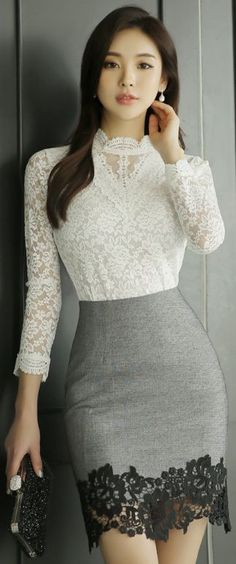 StyleOnme_Floral Lace Hem Pencil Skirt It would be great if the skirt was longer. and about 6 sizes bigger. Cute Fashion, Look Fashion, Korean Fashion, Womens Fashion, High Waisted Pencil Skirt, Pencil Skirts, Pencil Dress, Beautiful Asian Women, Sexy Asian Girls